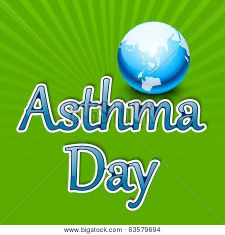 World Asthma Day concept with shiny text and globe on green rays background.