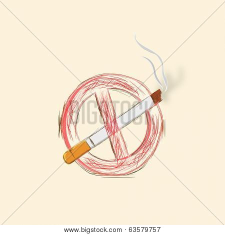 Stop Smoking concept with cigarette on abstract background, World Asthma Day background.
