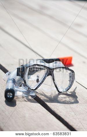 Snorkel Equipment On Wooden Background