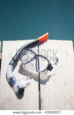 Snorkel Equipment In Front Of Water