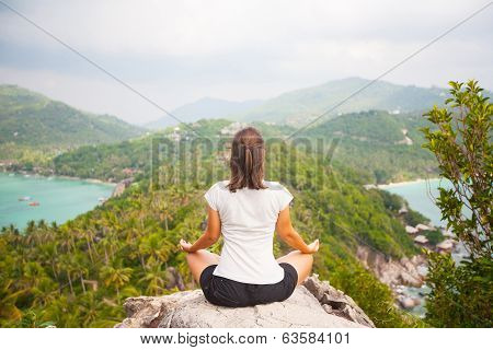 Yoga Meditation In Lotus Pose By Woman