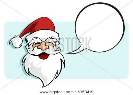 Christmas Series: Santa Claus With A Blank Comic Balloon.