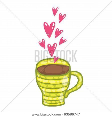 cute cartoon cup of coffee with hearts