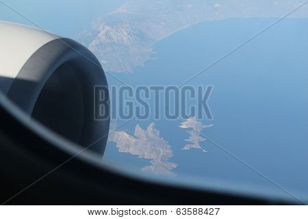 Aerial view above europe
