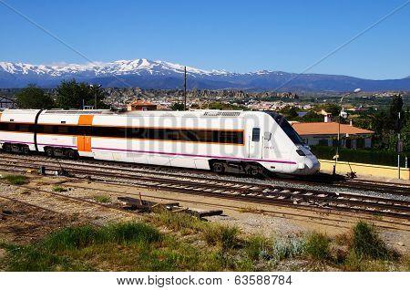 Spanish train in station, Guadix.