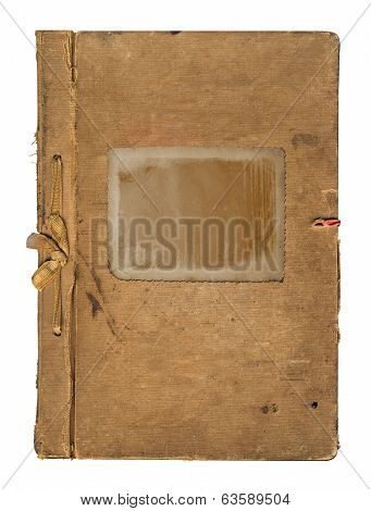 Old Worn Book Cover With Ribbon And Bow Isolated On White Background