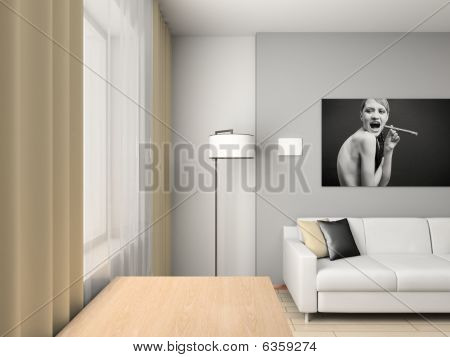 Home Interior With The Portrait.
