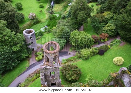 Aerial View Of Blarney Castle's Towers And Park