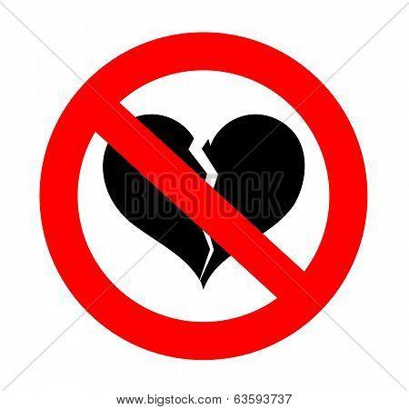 prohibited broken hearts sign