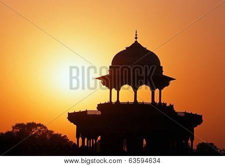 Taj Mahal dome at sunset, India.