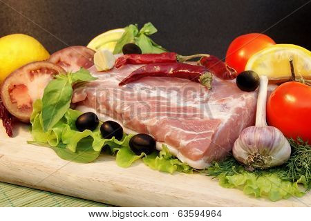 Still Life With Fresh Meat And Vegetables,