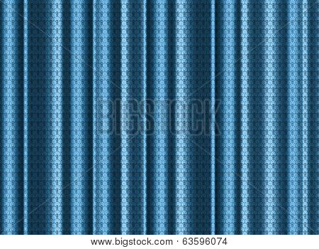 A Blue Silk Curtain With Lace Effect
