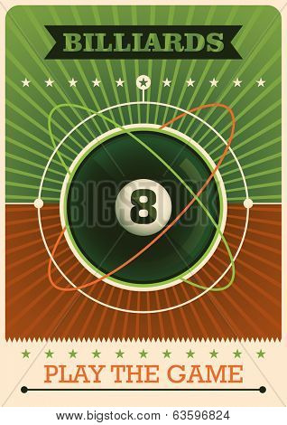 Retro billiards poster. Vector illustration.