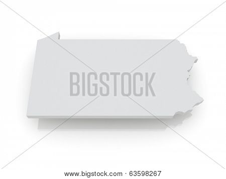 Three-dimensional map of Pennsylvania. USA. 3d