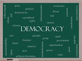 foto of bill-of-rights  - Democracy Word Cloud Concept on a Blackboard with great terms such as people rights vote and more - JPG