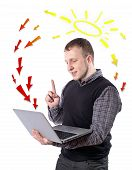 image of dynamo  - Young man with laptop - JPG