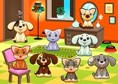 Family of cats and dogs in the house. Funny cartoon and vector illustration.