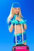 image of air hostess  - Air hostess with her pink bag on blue sky - JPG