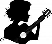 Illustration Featuring the Silhouette of a Girl Playing the Guitar