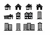 stock photo of suburban city  - Building Icons Set  Town city building design - JPG