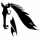 image of mustang  - horse head with flying mane black and white vector design - JPG