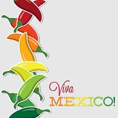 stock photo of jalapeno peppers  - Viva Mexico Chilli Card In Vector Format - JPG