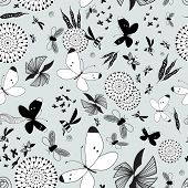 pic of moth  - Seamless graphic pattern of butterflies and moths on a blue background - JPG