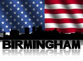 Birmingham skyline and text reflected with rippled American flag illustration