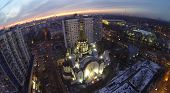Church of Resurrection in Sokolniki at winter evening in Moscow, Russia. Aerial view