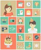 picture of fancy cakes  - Set of flat square icons of kids birthday party - JPG