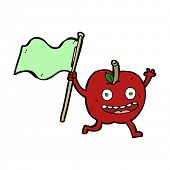cartoon apple with flag