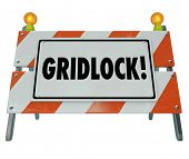 pic of barricade  - Gridlock Sign Barrier Barricade Road Construction Sign Traffic - JPG
