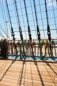 image of mast  - Marine rope ladder at pirate ship - JPG