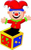 pic of jack-in-the-box  - Vector illustration of Cartoon Amusing toy jumping out from a box - JPG