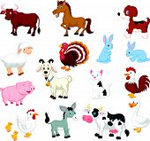 stock photo of rooster  - Vector illustration of Farm animal cartoon collection set - JPG