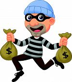 picture of sneak  - Vector illustration of Thief cartoon carrying bag of money with a dollar sign - JPG
