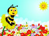 stock photo of bee cartoon  - Vector illustration of Cartoon bee sitting on the flower - JPG