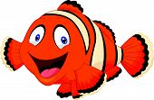 stock photo of clown fish  - Vector illustration of Cute clown fish cartoon - JPG