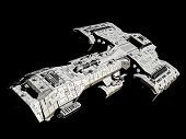 stock photo of fiction  - Science fiction spaceship isolated on a black background - JPG