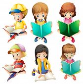 foto of playmates  - Illustration of the kids reading on a white background - JPG