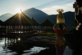 BALI - APRIL 11, 2014: A woman carries offerings in a basket and walks to the nearby temple for pray