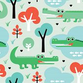 Seamless crocodile jungle adventure kids illustration background pattern in vector