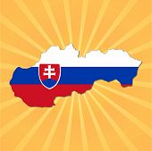 Slovenia map flag on sunburst vector illustration