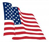 image of waving american flag  - American flag background fully editable vector illustration - JPG