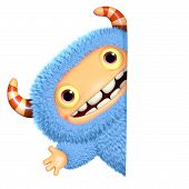 stock photo of bigfoot  - 3 d cartoon cute blue monster toy - JPG