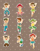 stock photo of flogging  - Cartoon Child Jump Stickers - JPG
