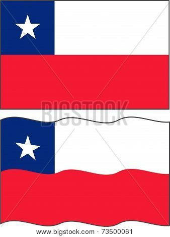 Flat and waving Chilean Flag. Vector