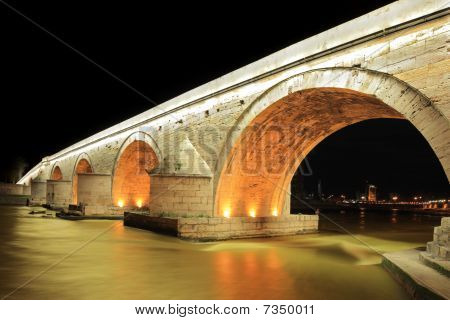 A view of a famous Stone bridge in Skopje, at night