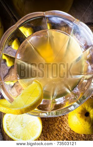 Alcohol Quince Liqueur Sliced Fruit Jar Wooden Cups