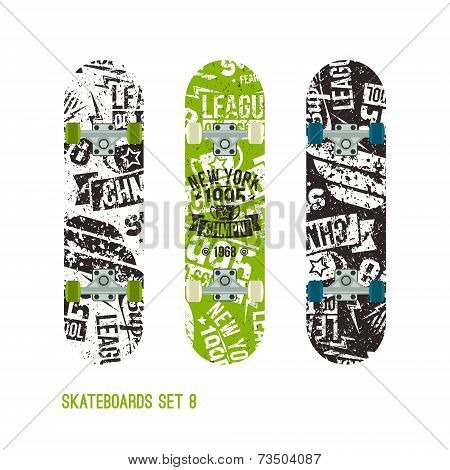 Set Of Retro Vintage Drawing On A Skateboard
